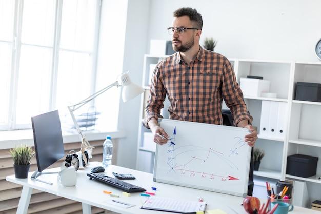 Mężczyzna w biurze stoi przy stole i wyjaśnia harmonogram nakreślony na tablicy magnetycznej.