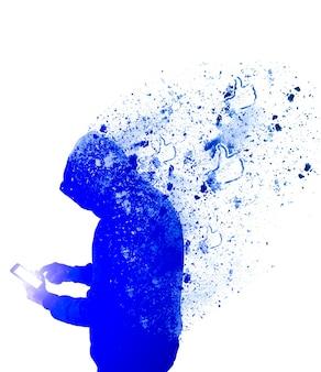 Mężczyzna w bluzie z kapturem z telefonem na białym tle. facet czeka na lajki i komentarze. uzależniony od sieci społecznościowych.
