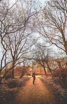 Mężczyzna w kurtce stojący na środku ścieżki otoczonej suchymi drzewami