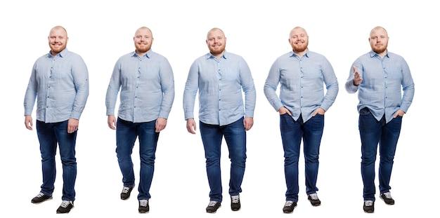 Mężczyzna w niebieskiej koszuli i dżinsach. uśmiechnięty rudowłosy łysy facet z brodą. pełna wysokość. na białym tle. kolaż, zestaw.