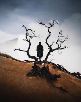 Mężczyzna w płaszczu przeciwdeszczowym z wysuszonym czarnym drzewem