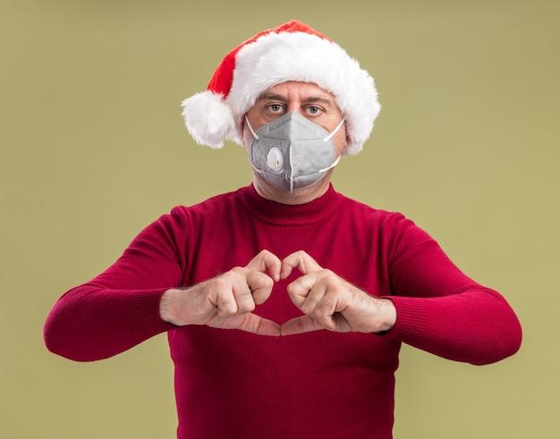 Mężczyzna w średnim wieku ubrany w świąteczny kapelusz santa na sobie maskę ochronną na twarz patrząc na kamery z poważną twarzą, czyniąc gest serca palcami stojącymi na zielonym tle