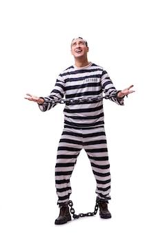Mężczyzna więzień odizolowywający na bielu