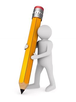 Mężczyzna z drewnianym ołówkiem. na białym tle, renderowania 3d