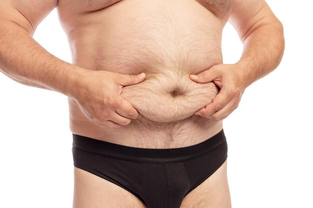 Mężczyzna z dużym brzuchem.