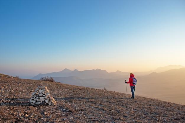Mężczyzna z kijami do nordic walking i plecakiem, widok z tyłu, stoi wysoko w górach i patrzy przed siebie.
