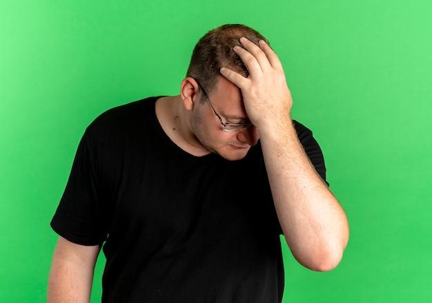 Mężczyzna z nadwagą w okularach ubrany w czarną koszulkę wygląda na zdezorientowanego i bardzo zaniepokojonego, z ręką na głowie na zielono