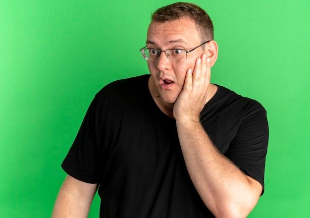 Mężczyzna z nadwagą w okularach, ubrany w czarny t-shirt, patrząc na bok zdumiony i zdziwiony, stoi nad zieloną ścianą