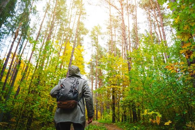 Mężczyzna z plecakiem idzie po niesamowitym jesiennym lesie.