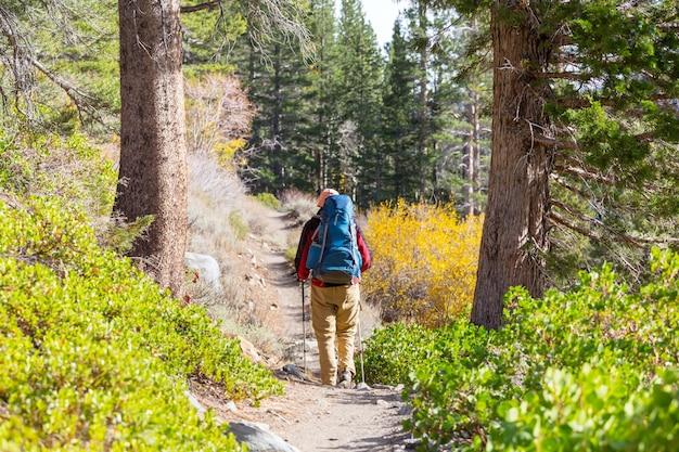 Mężczyzna ze sprzętem turystycznym spacerujący po górach sierra nevada, kalifornia, usa