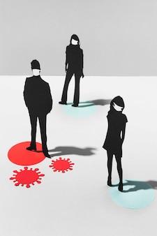 Mężczyźni i kobiety w maskach medycznych podczas pandemii koronawirusa