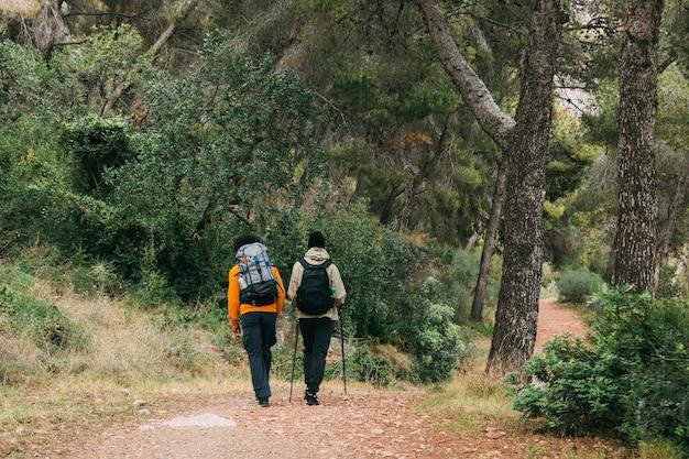 Mężczyźni trekking w przyrodzie