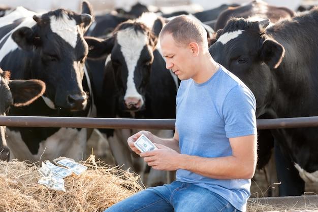 Mężczyźni z pieniędzy na farmie krów. obraz koncepcyjny przedstawiający koszty hodowli zwierząt