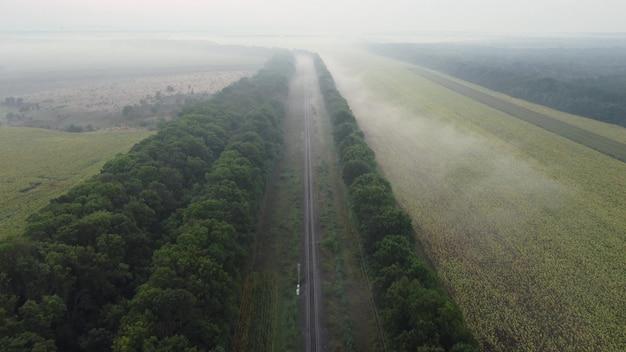 Mglisty poranek, naturalny krajobraz nad torami kolejowymi wzdłuż plantacji leśnych i pól uprawnych.