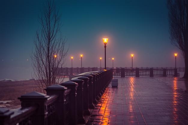 Mglisty wieczór na nabrzeżu zimą taganrog