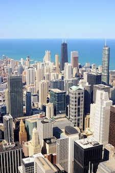 Miasto chicago. widok z lotu ptaka centrum chicago