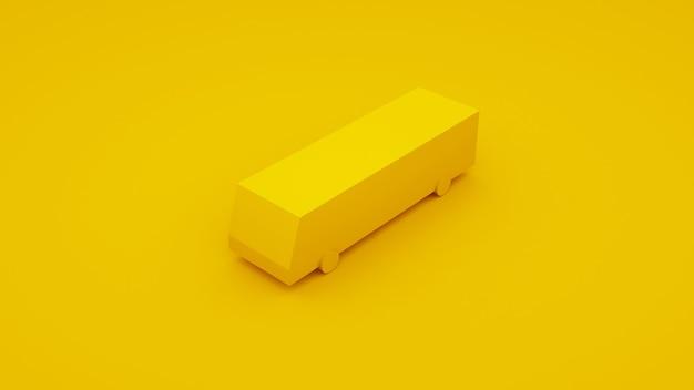 Miasto izometryczny żółty autobus. ilustracja 3d.