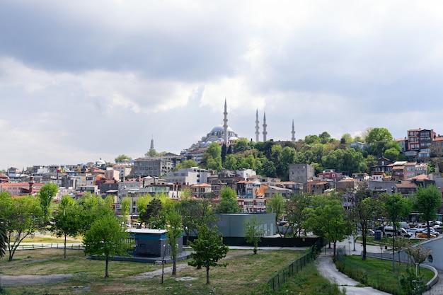 Miasto stambuł, widok ze złotego rogu na miasto i meczet