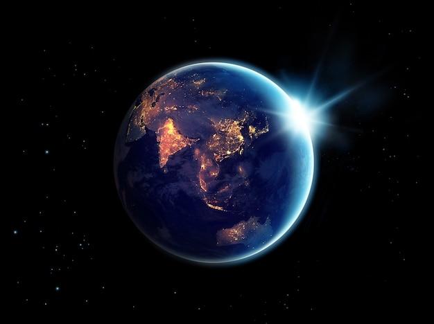 Miasto zaświeca przy nocą w planety ziemi, elementy ten wizerunek meblujący nasa