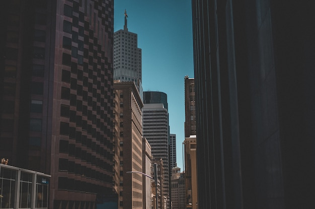 Miastowy strzał drapacze chmur i niebieskie niebo w tle
