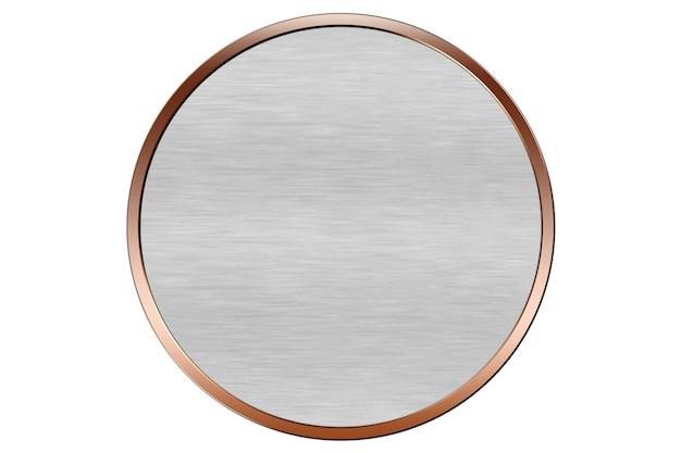 Miedziana okrągła abstrakcyjna ilustracja tła logo z szarym tłem
