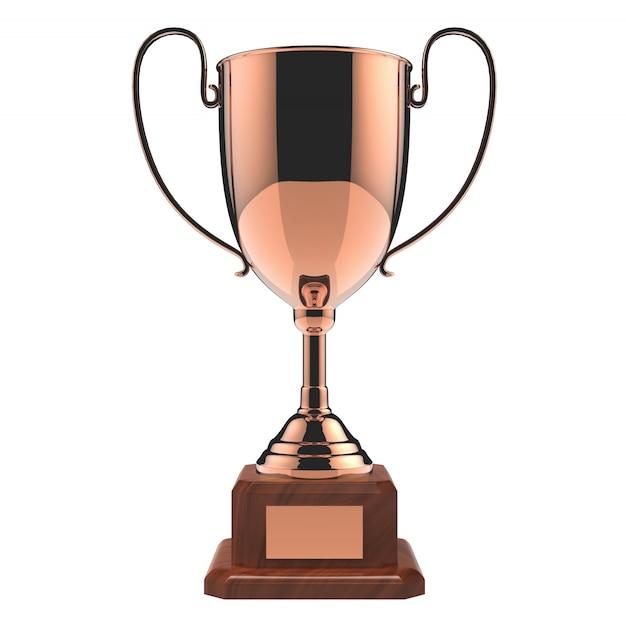 Miedziany nagrody trofeum odizolowywający na bielu z ścinek ścieżką