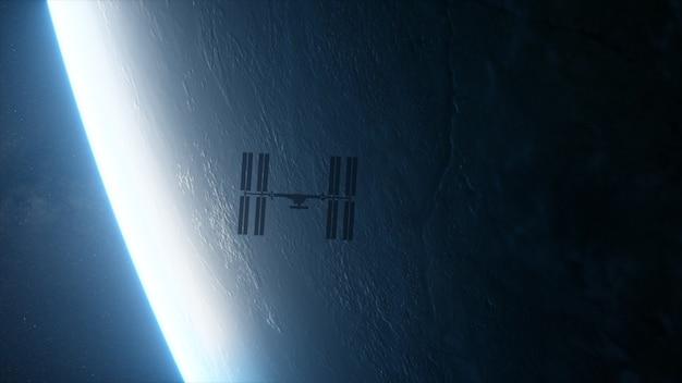 Międzynarodowa stacja kosmiczna iss orbitująca nad ziemią w przestrzeni kosmicznej.