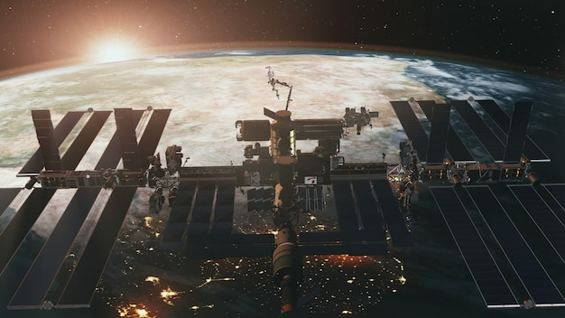 Międzynarodowa stacja kosmiczna o zachodzie słońca na ziemi w animacji 3d.