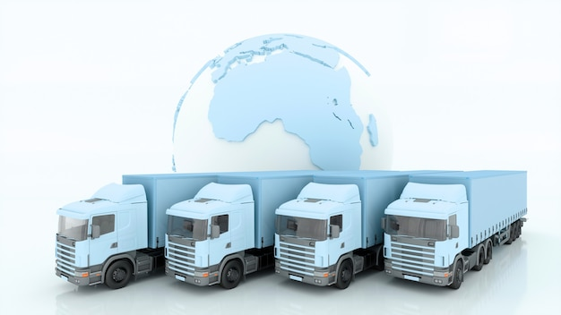 Międzynarodowa wysyłka i dostawa towarów, ilustracja 3d