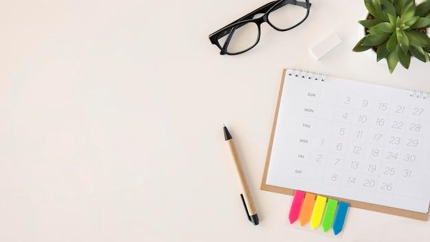 Miejsce do kopiowania kalendarza płaskiego planisty