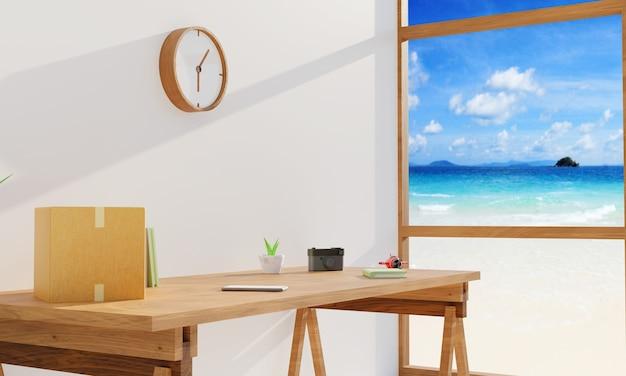 Miejsce do pracy z widokiem na morze w jasnym pokoju z drewnianym biurkiem. renderowanie 3d
