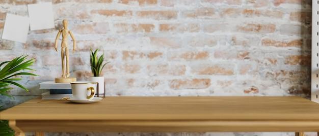 Miejsce na ekspozycję produktu montażowego nad drewnianym blatem z akcesoriami w ścianie z cegły 3d