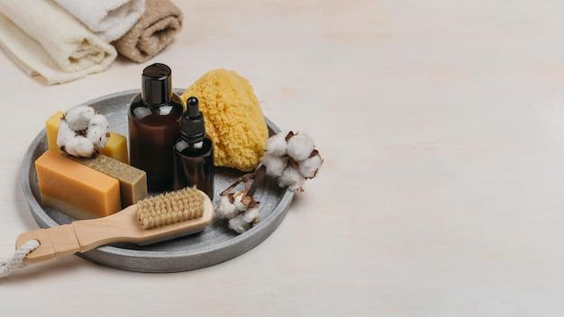 Miejsce na kopię organicznego oleju do ciała