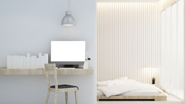 Miejsce pracy i sypialnia w hotelu lub mieszkaniu - projektowanie wnętrz