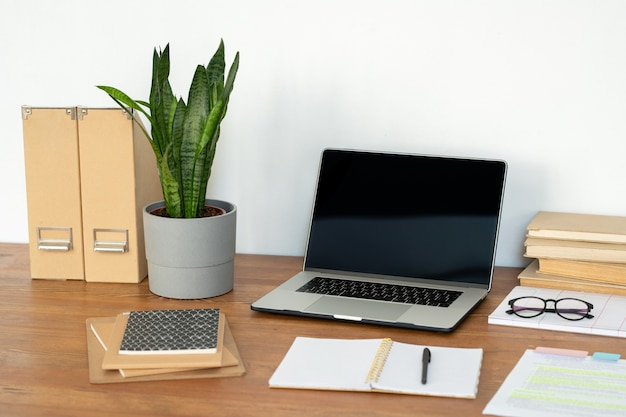 Miejsce pracy kierownika biura lub studenta z laptopem, rośliną doniczkową, notatnikami, książkami i innymi materiałami na biurku
