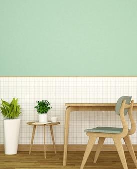 Miejsce pracy lub jadalnia na białej ceramicznej ścianie i zielonej ścianie zdobią w domu lub mieszkaniu