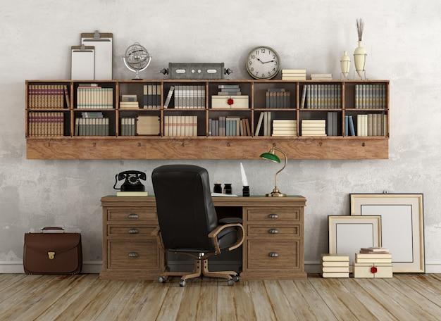 Miejsce pracy w klasycznym stylu z drewnianymi meblami