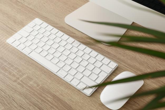 Miejsce pracy z komputerem i rośliną na drewnianym stole, zamyka up