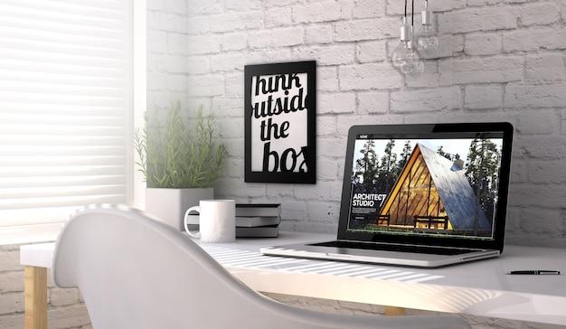 Miejsce pracy z laptopem