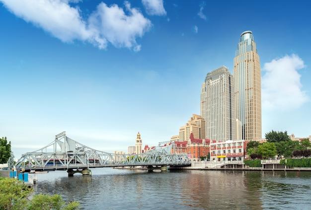 Miejski krajobraz architektoniczny w tianjin w chinach