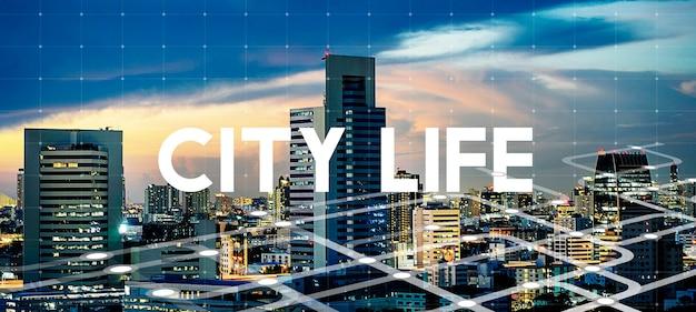 Miejskie życie miasto styl życia słowo