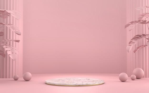 Miękka różowa i marmurowa platforma na podium