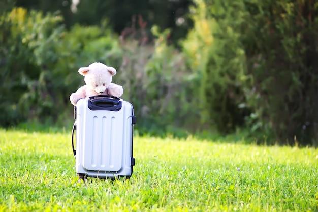 Miękki miś zabawka dla dzieci na torbie podróżnej na zielonej letniej łące