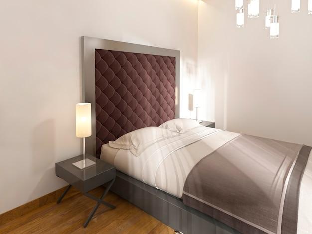 Miękki, pikowany zagłówek w kolorze burgund, metalowa rama i stoliki nocne z lampkami. renderowania 3d.