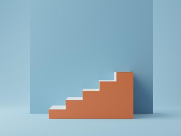 Miękkie niebieskie tło ze schodami do wyświetlania produktów