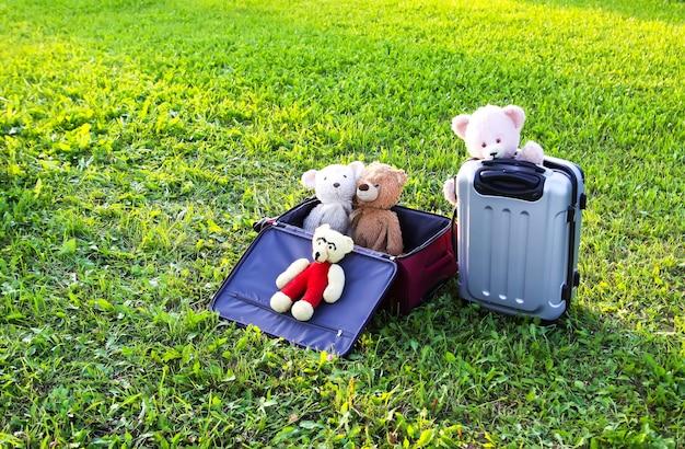 Miękkie zabawki na torbach podróżnych na zielonej trawie na zewnątrz w słońcu.