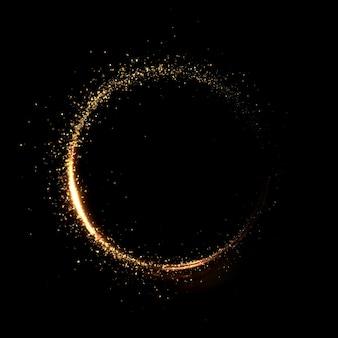 Miesiąc cząsteczki złota czarne tło. ilustracja 3d renderowania