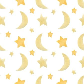 Miesiąc i gwiazdy akwarela bezszwowe wzór na białym tle