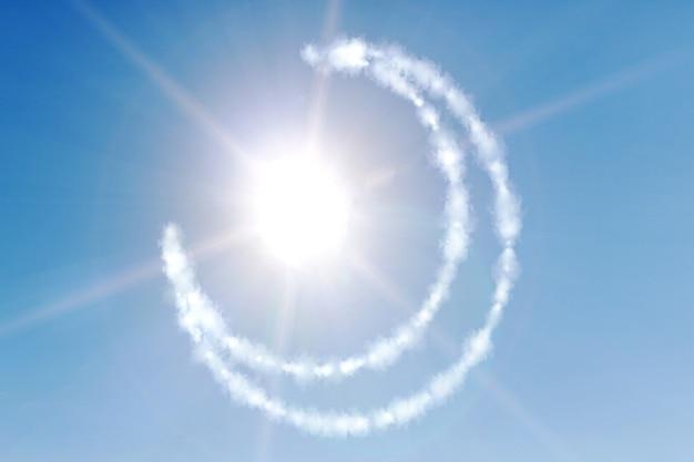 Miesiąc z gwiazdą na niebieskim niebie. symbol islamu