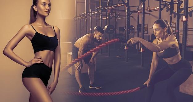 Mięśni młodych sportowców kobiet i mężczyzn, kreatywny kolaż. kaukaski mężczyzna i kobieta, trening na siłowni z liną. koncepcja cross-fit, fitness, ruchu, sportu, kulturystyki, odchudzania.